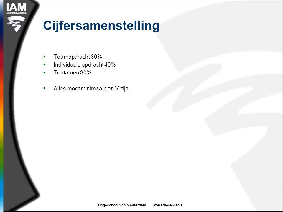 Hogeschool van Amsterdam Interactieve Media Cijfersamenstelling  Teamopdracht 30%  Individuele opdracht 40%  Tentamen 30%  Alles moet minimaal een