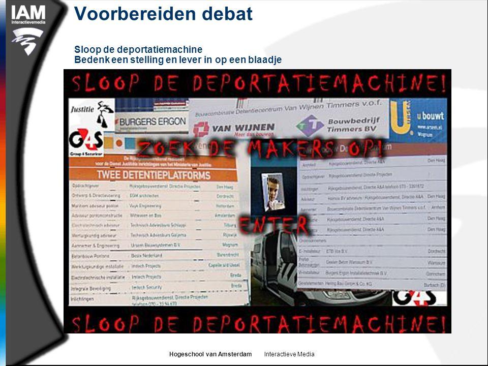 Hogeschool van Amsterdam Interactieve Media Voorbereiden debat Sloop de deportatiemachine Bedenk een stelling en lever in op een blaadje