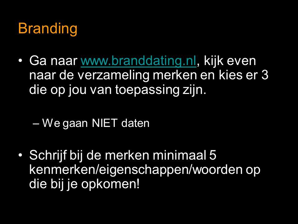 Branding Ga naar www.branddating.nl, kijk even naar de verzameling merken en kies er 3 die op jou van toepassing zijn.www.branddating.nl –We gaan NIET
