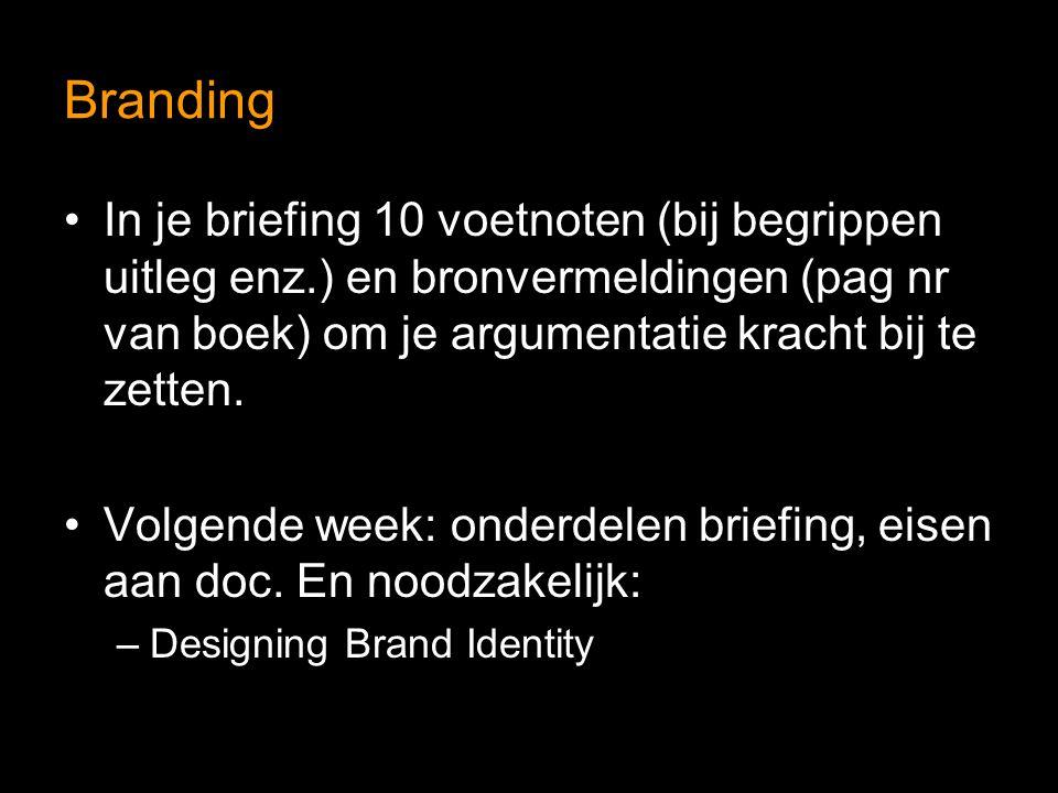 Branding In je briefing 10 voetnoten (bij begrippen uitleg enz.) en bronvermeldingen (pag nr van boek) om je argumentatie kracht bij te zetten. Volgen
