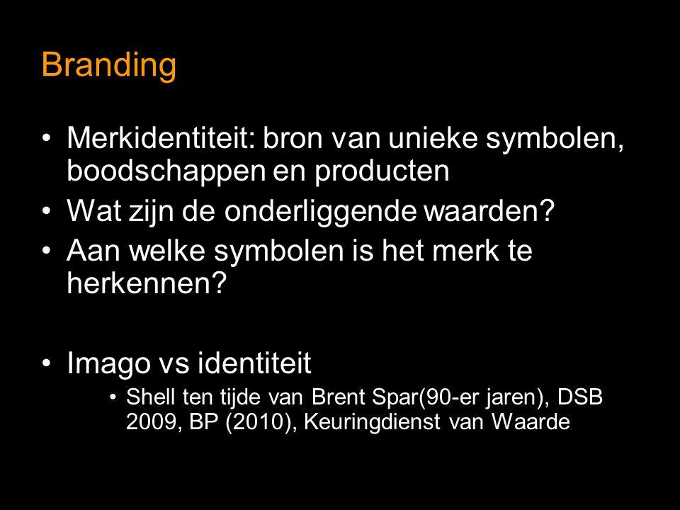 Branding Merkidentiteit: bron van unieke symbolen, boodschappen en producten Wat zijn de onderliggende waarden? Aan welke symbolen is het merk te herk