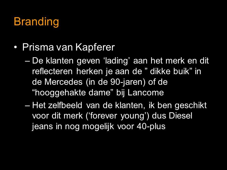 Branding Prisma van Kapferer –De klanten geven 'lading' aan het merk en dit reflecteren herken je aan de dikke buik in de Mercedes (in de 90-jaren) of de hooggehakte dame bij Lancome –Het zelfbeeld van de klanten, ik ben geschikt voor dit merk ('forever young') dus Diesel jeans in nog mogelijk voor 40-plus