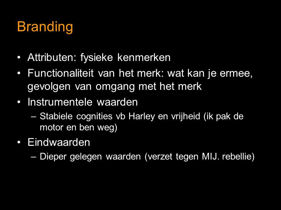 Branding Attributen: fysieke kenmerken Functionaliteit van het merk: wat kan je ermee, gevolgen van omgang met het merk Instrumentele waarden –Stabiele cognities vb Harley en vrijheid (ik pak de motor en ben weg) Eindwaarden –Dieper gelegen waarden (verzet tegen MIJ.