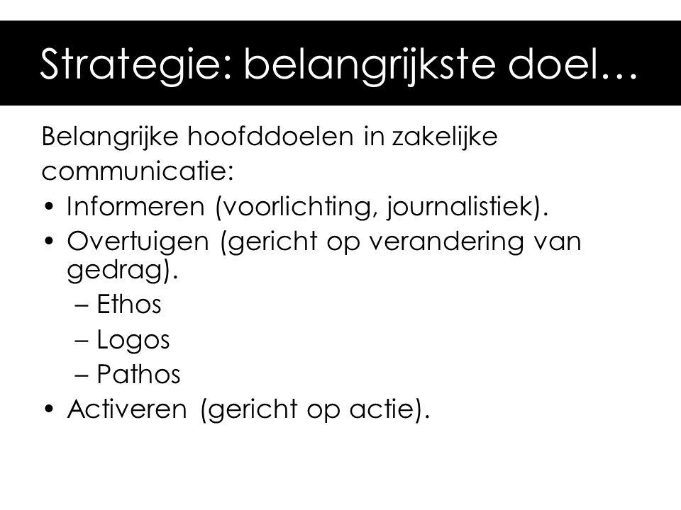 Belangrijke hoofddoelen in zakelijke communicatie: Informeren (voorlichting, journalistiek). Overtuigen (gericht op verandering van gedrag). –Ethos –L