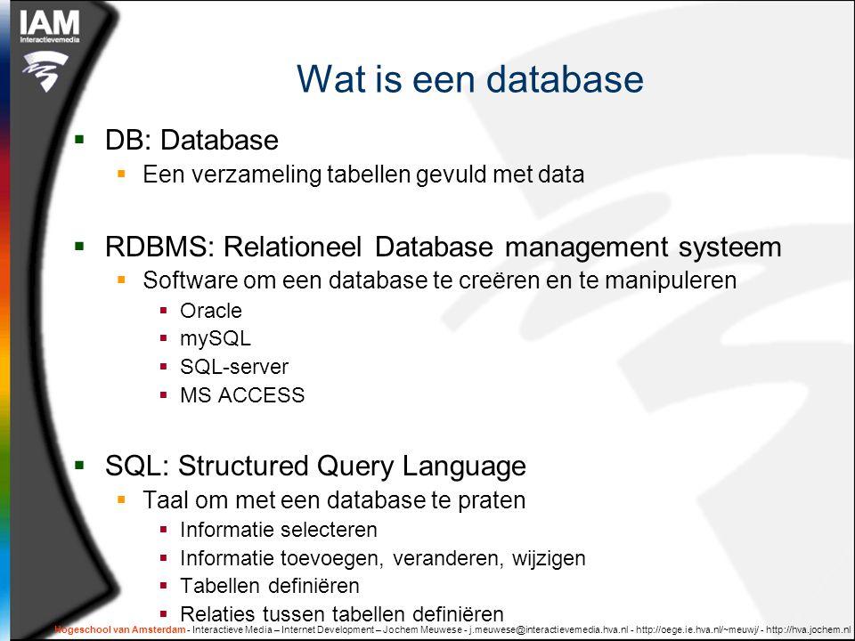 enumeraties  Opsommingen / lijstjes  Bijvoorbeeld:  Dag_van_de_week [ma,di,wo,do,vr,za,zo]  Sterrenbeeld [steenbok, waterman, etc… ]  Categorie [voedsel, boek, vervoermiddel ] Meer over enumeraties in deel 2: datamodelleren Hogeschool van Amsterdam - Interactieve Media – Internet Development – Jochem Meuwese - j.meuwese@interactievemedia.hva.nl - http://oege.ie.hva.nl/~meuwj/ - http://hva.jochem.nl