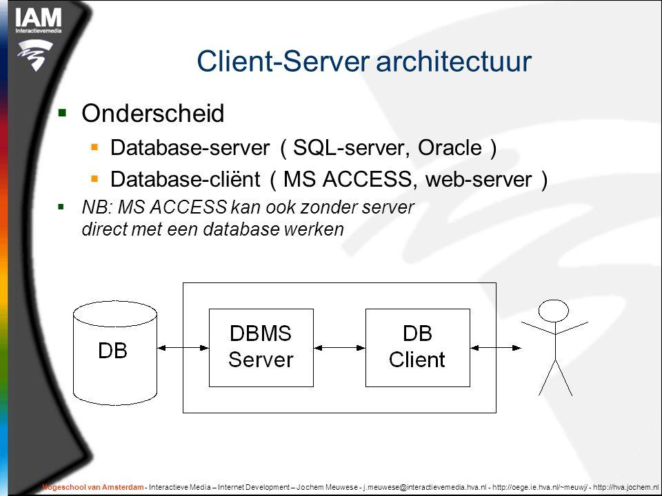 SQL: databewerkingen Structured Query Language  Een taal om database te bevragen en te manipuleren.