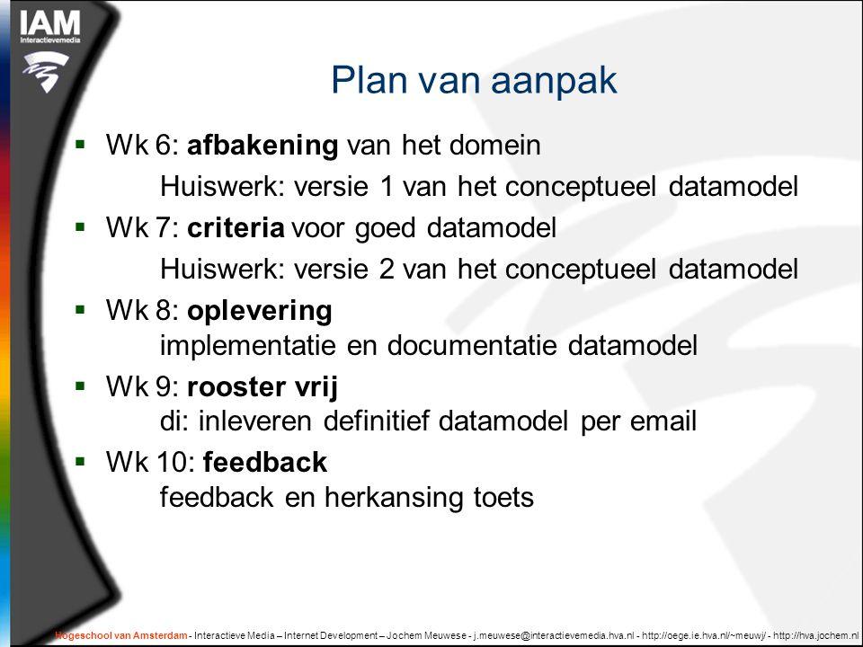 Hogeschool van Amsterdam - Interactieve Media – Internet Development – Jochem Meuwese - j.meuwese@interactievemedia.hva.nl - http://oege.ie.hva.nl/~meuwj/ - http://hva.jochem.nl Plan van aanpak  Wk 6: afbakening van het domein Huiswerk: versie 1 van het conceptueel datamodel  Wk 7: criteria voor goed datamodel Huiswerk: versie 2 van het conceptueel datamodel  Wk 8: oplevering implementatie en documentatie datamodel  Wk 9: rooster vrij di: inleveren definitief datamodel per email  Wk 10: feedback feedback en herkansing toets