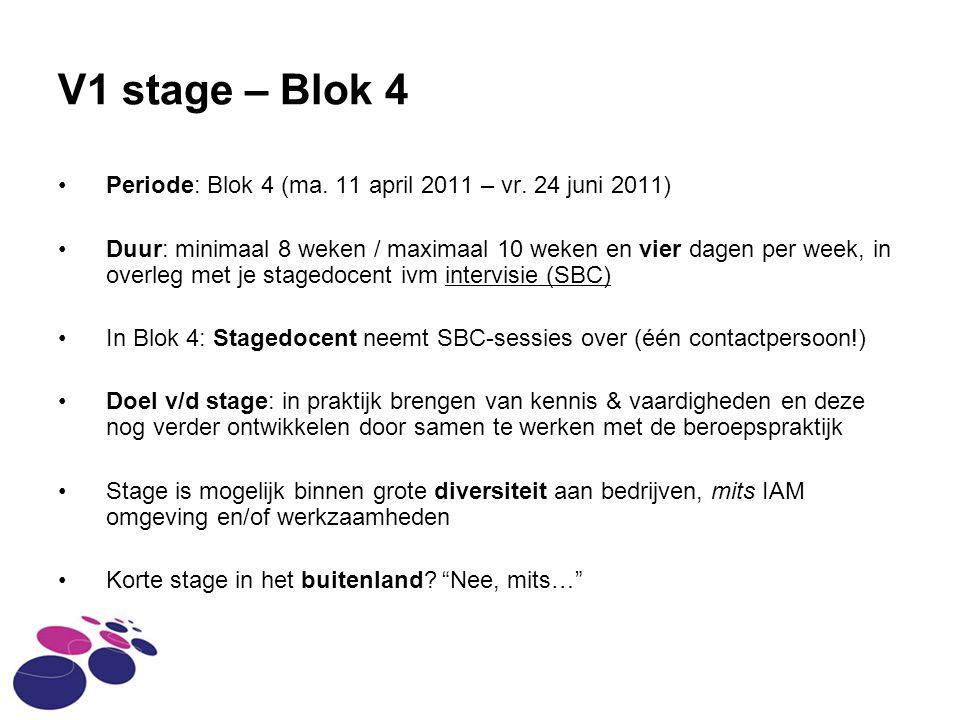 V1 stage – Blok 4 Periode: Blok 4 (ma.11 april 2011 – vr.