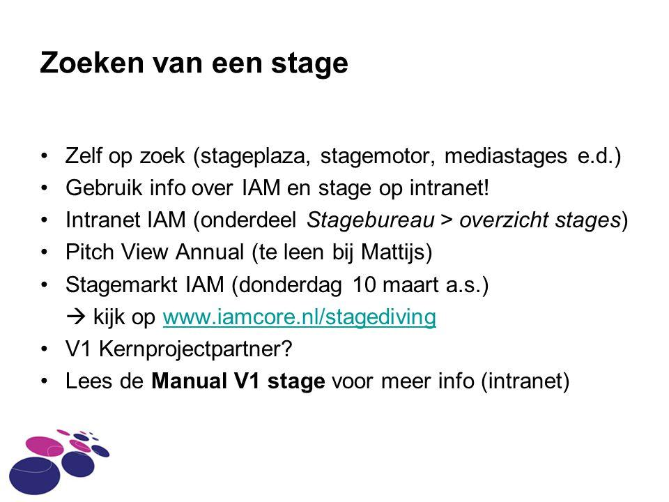 Zoeken van een stage Zelf op zoek (stageplaza, stagemotor, mediastages e.d.) Gebruik info over IAM en stage op intranet.