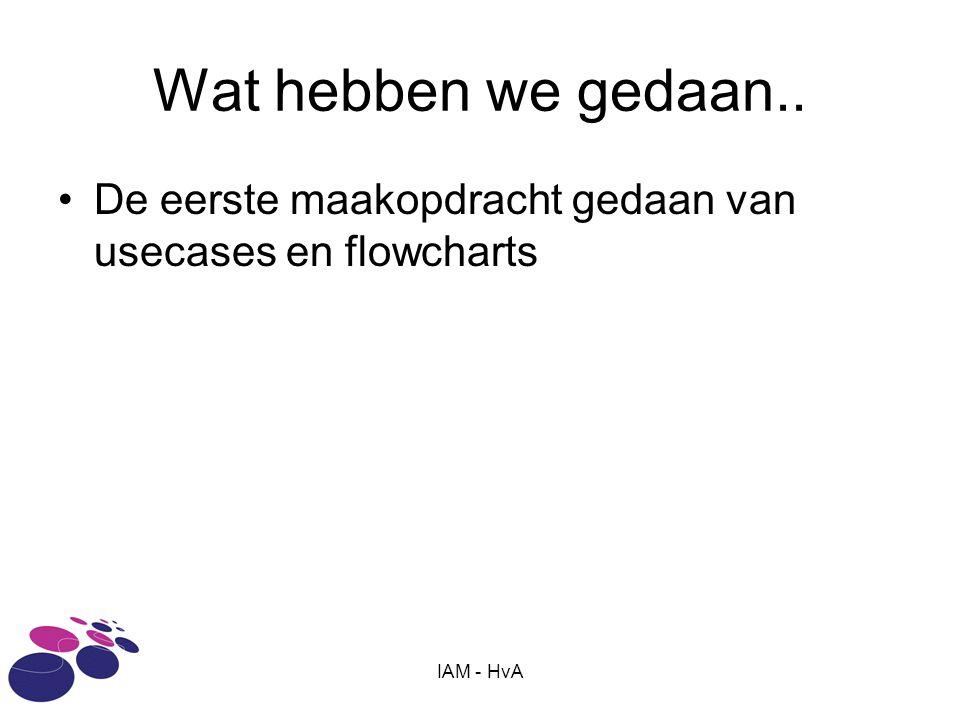 Wat hebben we gedaan.. De eerste maakopdracht gedaan van usecases en flowcharts IAM - HvA