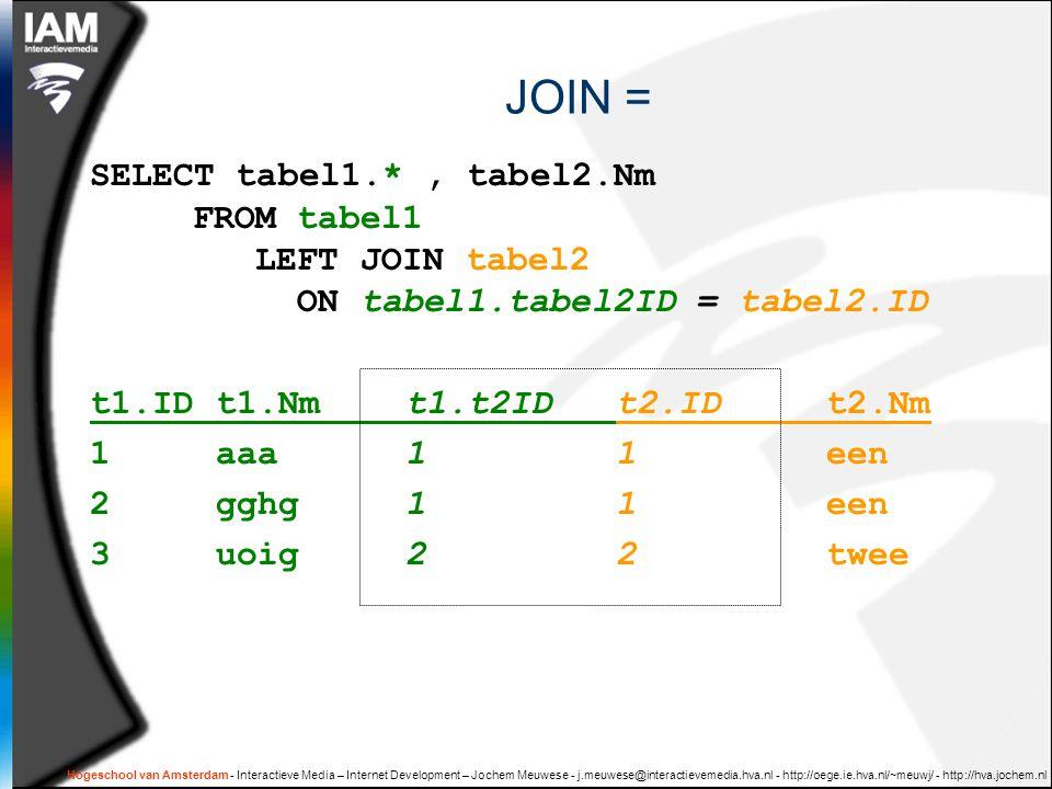 Hogeschool van Amsterdam - Interactieve Media – Internet Development – Jochem Meuwese - j.meuwese@interactievemedia.hva.nl - http://oege.ie.hva.nl/~meuwj/ - http://hva.jochem.nl JOIN = SELECT tabel1.*, tabel2.Nm FROM tabel1 LEFT JOIN tabel2 ON tabel1.tabel2ID = tabel2.ID t1.ID t1.Nmt1.t2IDt2.IDt2.Nm 1 aaa11een 2 gghg11een 3 uoig22twee