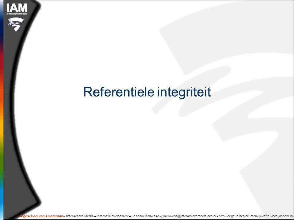 Hogeschool van Amsterdam - Interactieve Media – Internet Development – Jochem Meuwese - j.meuwese@interactievemedia.hva.nl - http://oege.ie.hva.nl/~meuwj/ - http://hva.jochem.nl Referentiele integriteit