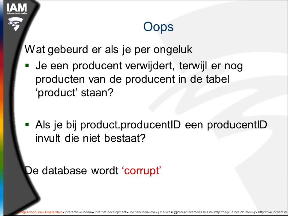 Hogeschool van Amsterdam - Interactieve Media – Internet Development – Jochem Meuwese - j.meuwese@interactievemedia.hva.nl - http://oege.ie.hva.nl/~meuwj/ - http://hva.jochem.nl Oops Wat gebeurd er als je per ongeluk  Je een producent verwijdert, terwijl er nog producten van de producent in de tabel 'product' staan.