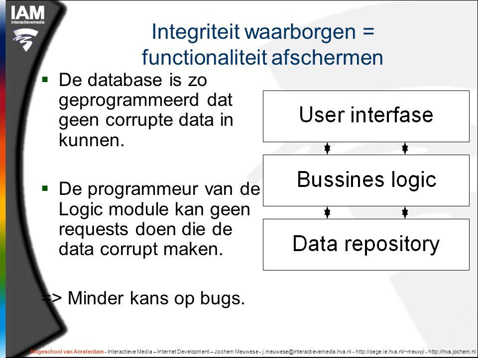 Hogeschool van Amsterdam - Interactieve Media – Internet Development – Jochem Meuwese - j.meuwese@interactievemedia.hva.nl - http://oege.ie.hva.nl/~meuwj/ - http://hva.jochem.nl Integriteit waarborgen = functionaliteit afschermen  De database is zo geprogrammeerd dat geen corrupte data in kunnen.