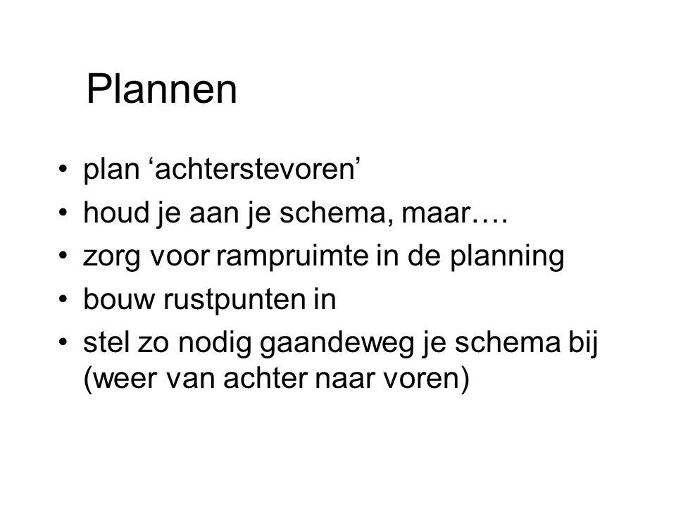 Plannen plan 'achterstevoren' houd je aan je schema, maar….