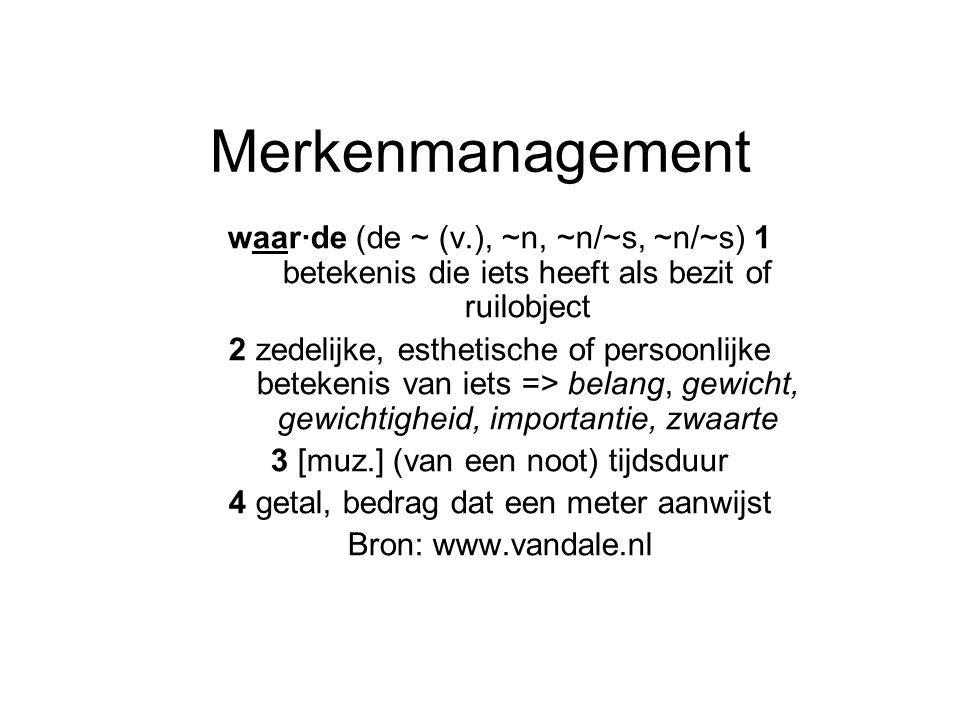 Merkenmanagement waar·de (de ~ (v.), ~n, ~n/~s, ~n/~s) 1 betekenis die iets heeft als bezit of ruilobject 2 zedelijke, esthetische of persoonlijke betekenis van iets => belang, gewicht, gewichtigheid, importantie, zwaarte 3 [muz.] (van een noot) tijdsduur 4 getal, bedrag dat een meter aanwijst Bron: www.vandale.nl