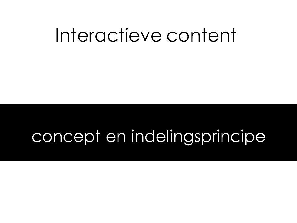 Interactieve content concept en indelingsprincipe