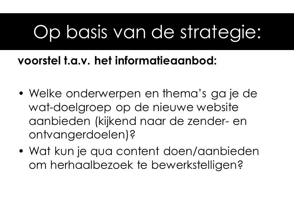 Op basis van de strategie: voorstel t.a.v. het informatieaanbod: Welke onderwerpen en thema's ga je de wat-doelgroep op de nieuwe website aanbieden (k