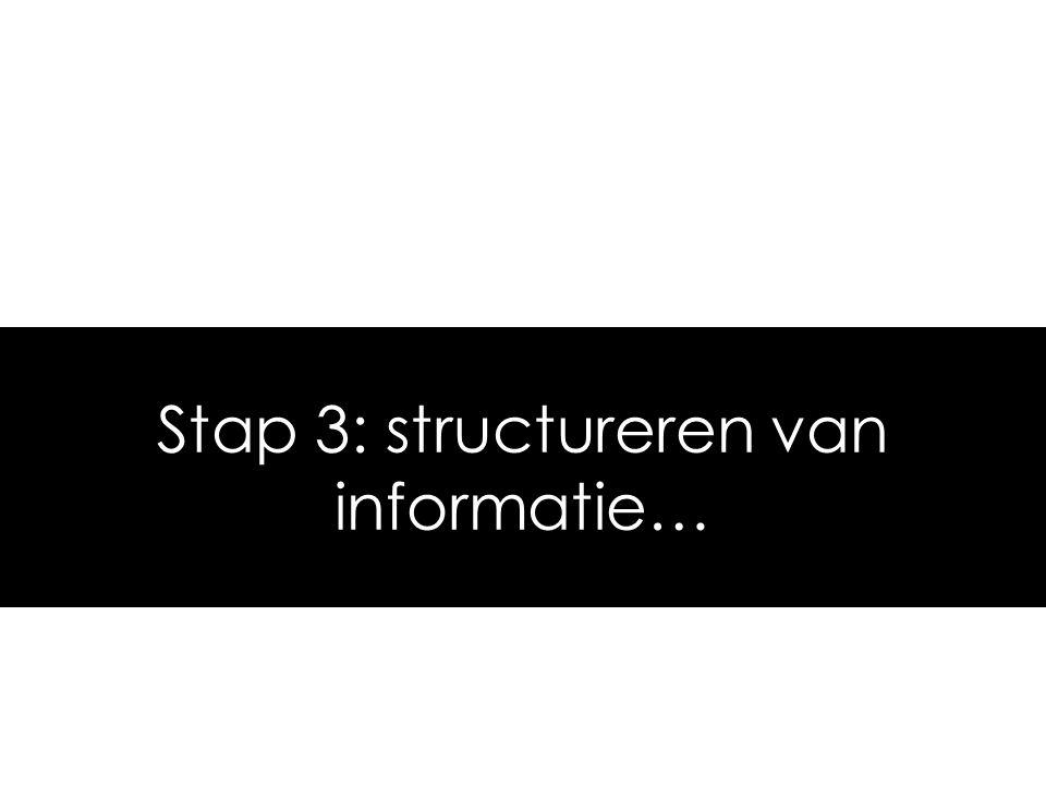 Stap 3: structureren van informatie…