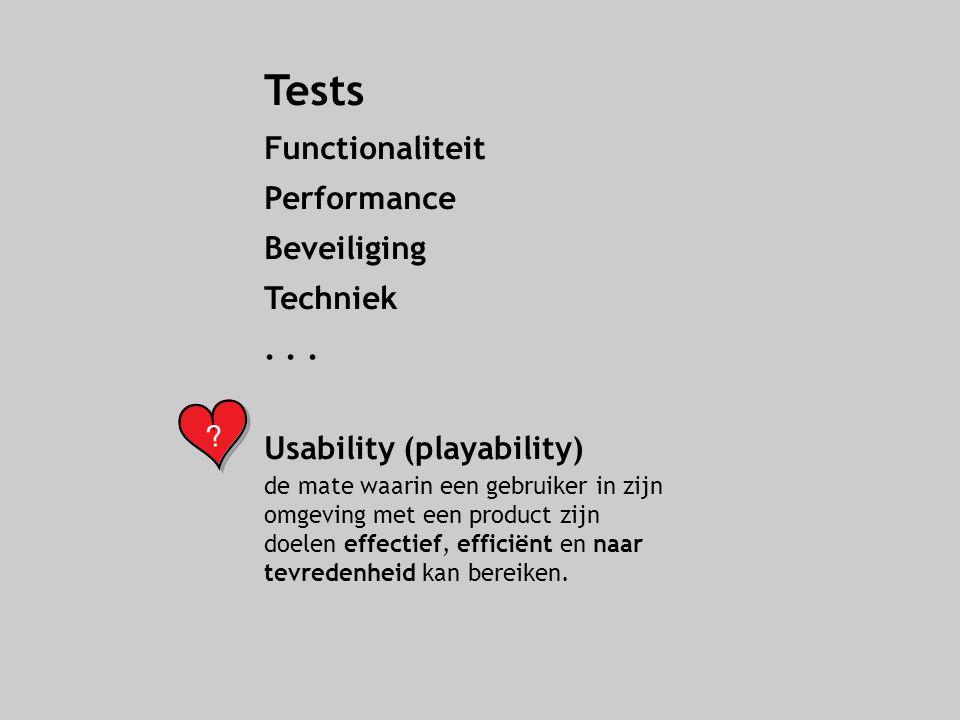 Tests Functionaliteit Performance Beveiliging Techniek...