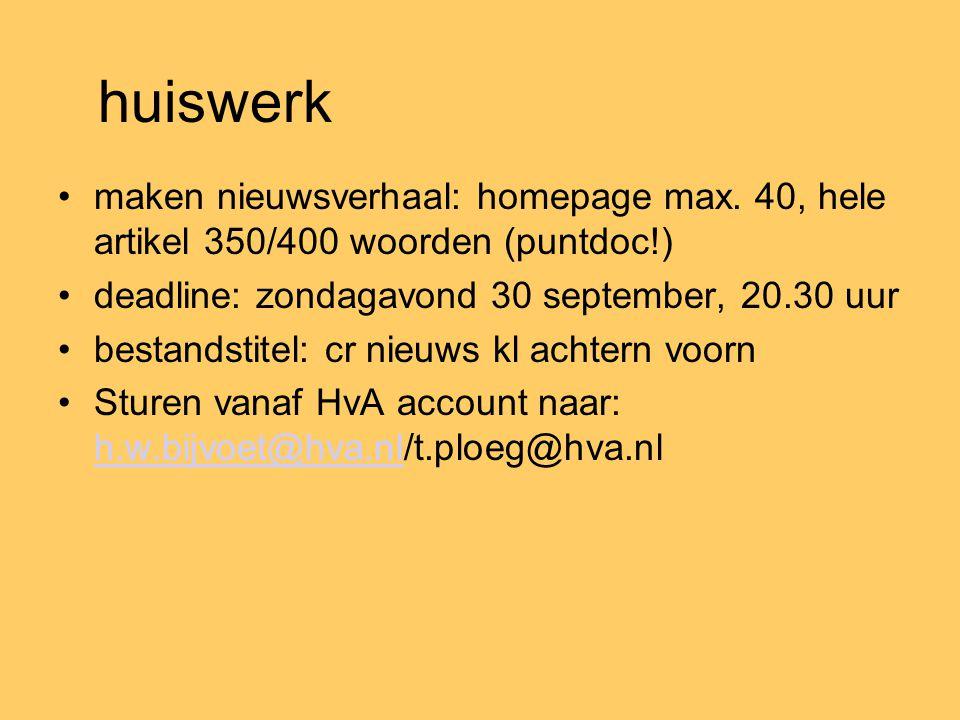 huiswerk maken nieuwsverhaal: homepage max.