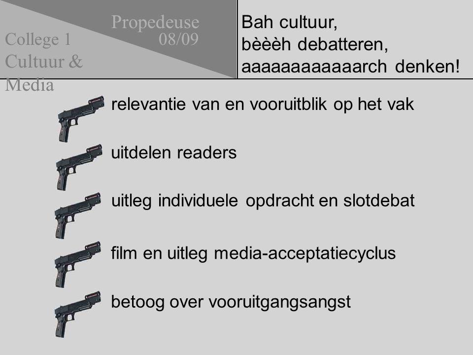 Bah cultuur, bèèèh debatteren, aaaaaaaaaaaarch denken! relevantie van en vooruitblik op het vak uitdelen readers Propedeuse 08/09 Cultuur & Media Coll