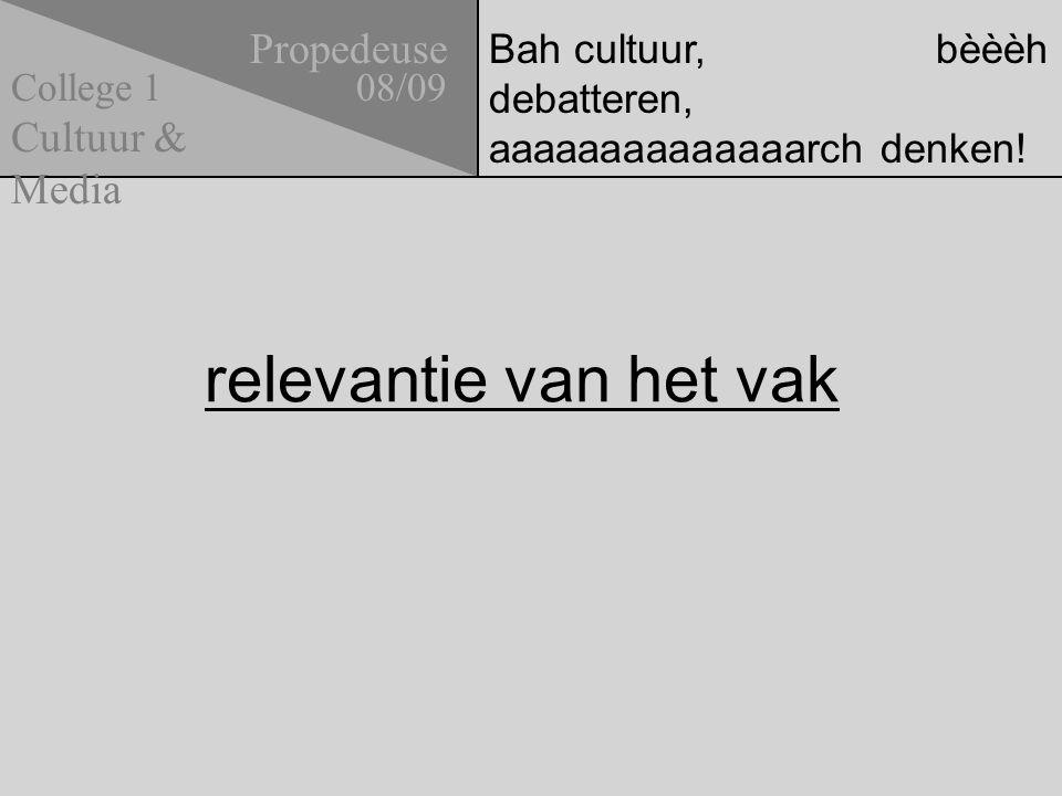 Bah cultuur, bèèèh debatteren, aaaaaaaaaaaaaarch denken! relevantie van het vak Propedeuse 08/09 Cultuur & Media College 1