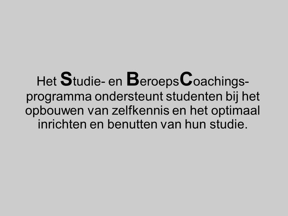 Het S tudie- en B eroeps C oachings- programma ondersteunt studenten bij het opbouwen van zelfkennis en het optimaal inrichten en benutten van hun stu
