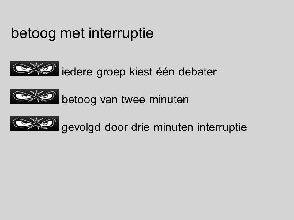 iedere groep kiest één debater betoog van twee minuten gevolgd door drie minuten interruptie betoog met interruptie