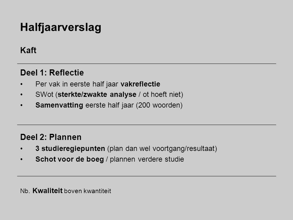 Halfjaarverslag Kaft Deel 1: Reflectie Per vak in eerste half jaar vakreflectie SWot (sterkte/zwakte analyse / ot hoeft niet) Samenvatting eerste half
