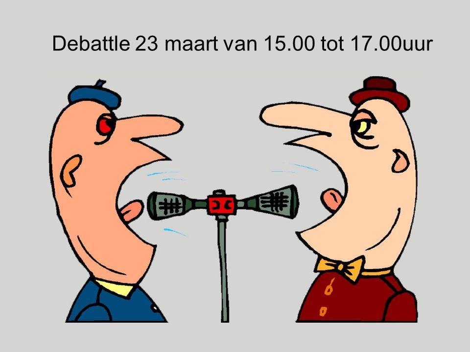 Debattle 23 maart van 15.00 tot 17.00uur