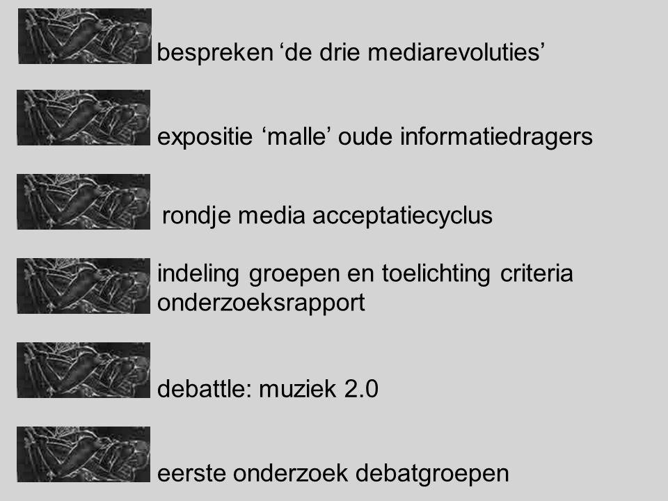 expositie 'malle' oude informatiedragers eerste onderzoek debatgroepen indeling groepen en toelichting criteria onderzoeksrapport debattle: muziek 2.0