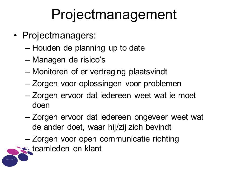 Projectmanagement Projectmanagers: –Houden de planning up to date –Managen de risico's –Monitoren of er vertraging plaatsvindt –Zorgen voor oplossingen voor problemen –Zorgen ervoor dat iedereen weet wat ie moet doen –Zorgen ervoor dat iedereen ongeveer weet wat de ander doet, waar hij/zij zich bevindt –Zorgen voor open communicatie richting teamleden en klant