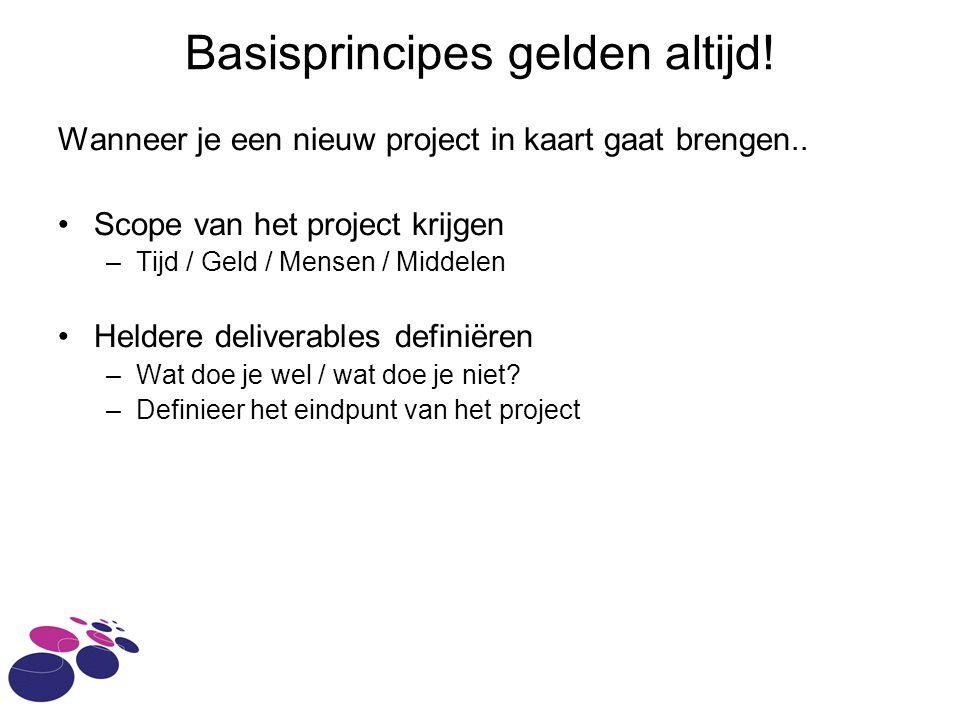 Basisprincipes gelden altijd! Wanneer je een nieuw project in kaart gaat brengen.. Scope van het project krijgen –Tijd / Geld / Mensen / Middelen Held