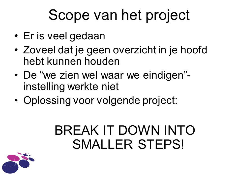 Scope van het project Er is veel gedaan Zoveel dat je geen overzicht in je hoofd hebt kunnen houden De we zien wel waar we eindigen - instelling werkte niet Oplossing voor volgende project: BREAK IT DOWN INTO SMALLER STEPS!