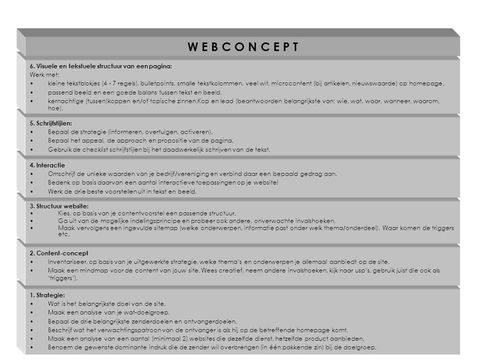 Oefening: Website biologische bierbrouwerij 'De Leckere' Bepaal voor de homepage: –de strategie (informeren, stimuleren, activeren).