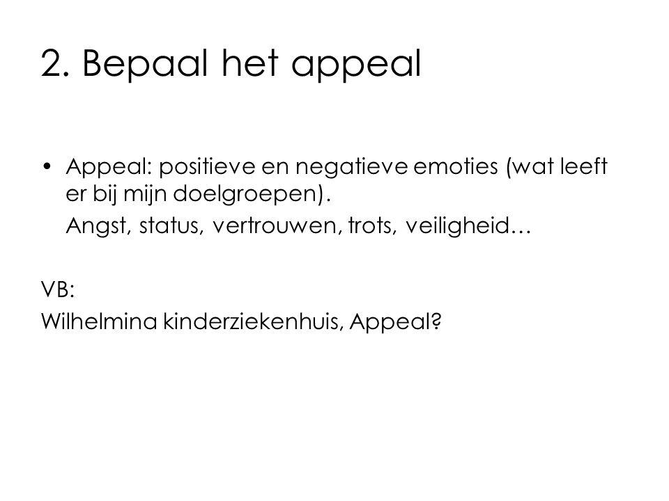 2. Bepaal het appeal Appeal: positieve en negatieve emoties (wat leeft er bij mijn doelgroepen). Angst, status, vertrouwen, trots, veiligheid… VB: Wil