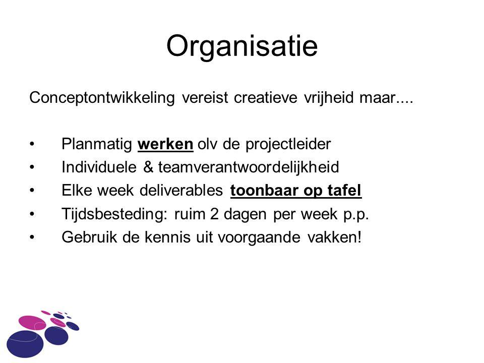Organisatie Conceptontwikkeling vereist creatieve vrijheid maar....