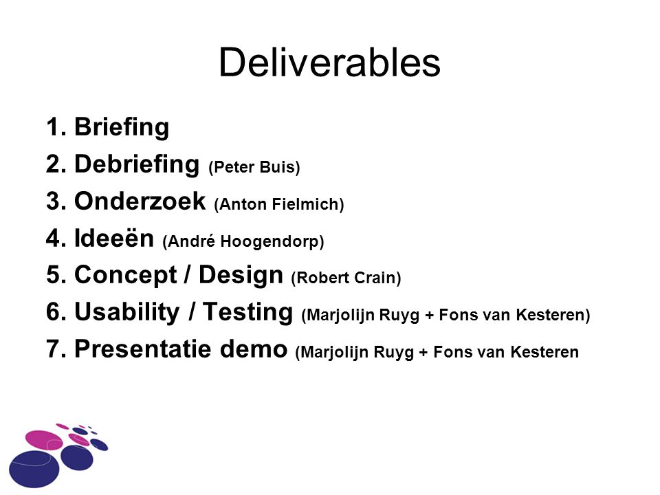 Deliverables 1.Briefing 2. Debriefing (Peter Buis) 3.