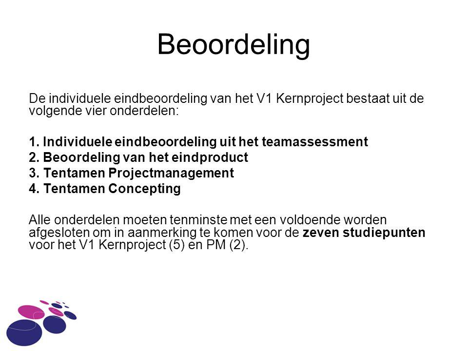 Beoordeling De individuele eindbeoordeling van het V1 Kernproject bestaat uit de volgende vier onderdelen: 1.