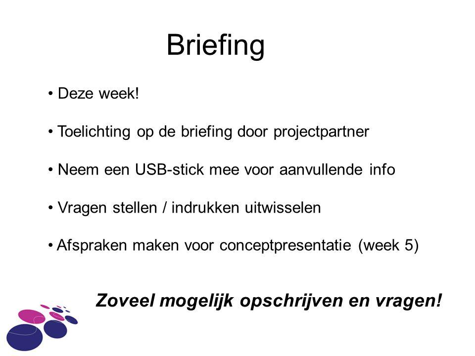 Briefing Zoveel mogelijk opschrijven en vragen. Deze week.