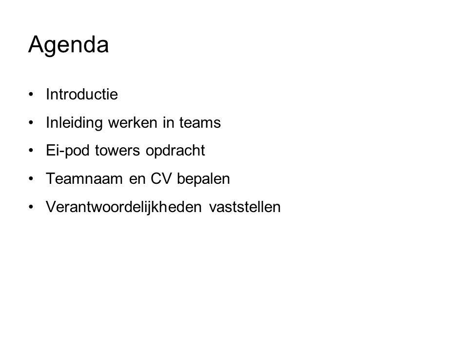 Agenda Introductie Inleiding werken in teams Ei-pod towers opdracht Teamnaam en CV bepalen Verantwoordelijkheden vaststellen