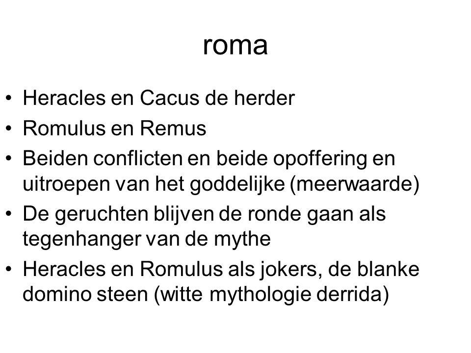 roma Heracles en Cacus de herder Romulus en Remus Beiden conflicten en beide opoffering en uitroepen van het goddelijke (meerwaarde) De geruchten blij