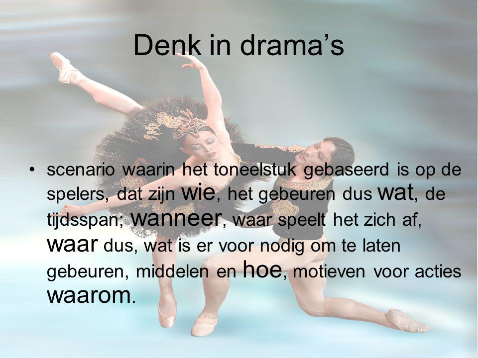 Denk in drama's scenario waarin het toneelstuk gebaseerd is op de spelers, dat zijn wie, het gebeuren dus wat, de tijdsspan; wanneer, waar speelt het