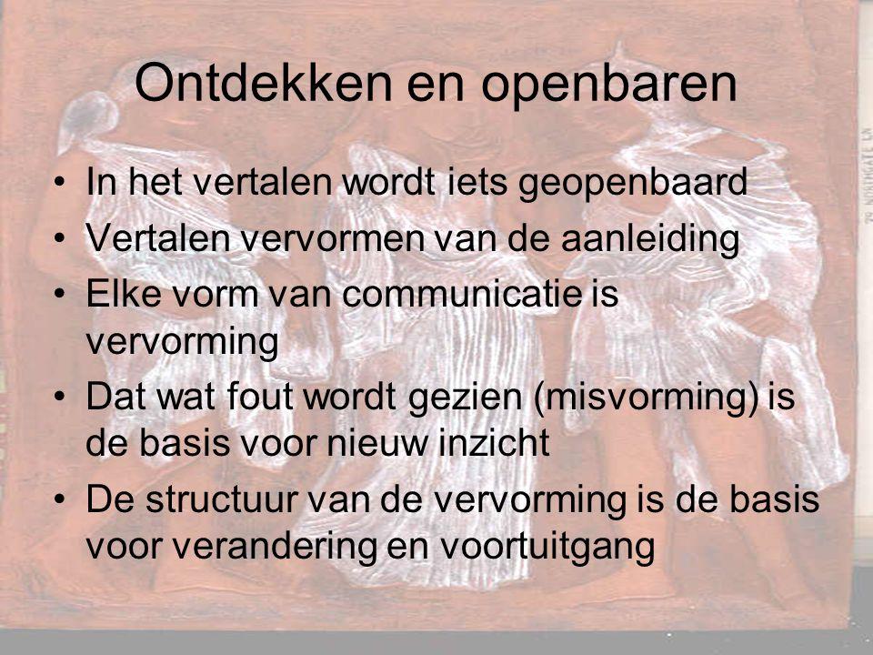Ontdekken en openbaren In het vertalen wordt iets geopenbaard Vertalen vervormen van de aanleiding Elke vorm van communicatie is vervorming Dat wat fo