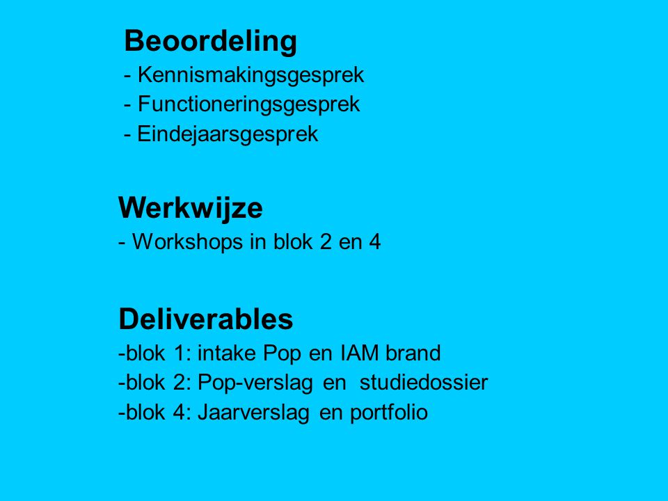 Werkwijze - Workshops in blok 2 en 4 Beoordeling - Kennismakingsgesprek - Functioneringsgesprek - Eindejaarsgesprek Deliverables -blok 1: intake Pop en IAM brand -blok 2: Pop-verslag en studiedossier -blok 4: Jaarverslag en portfolio