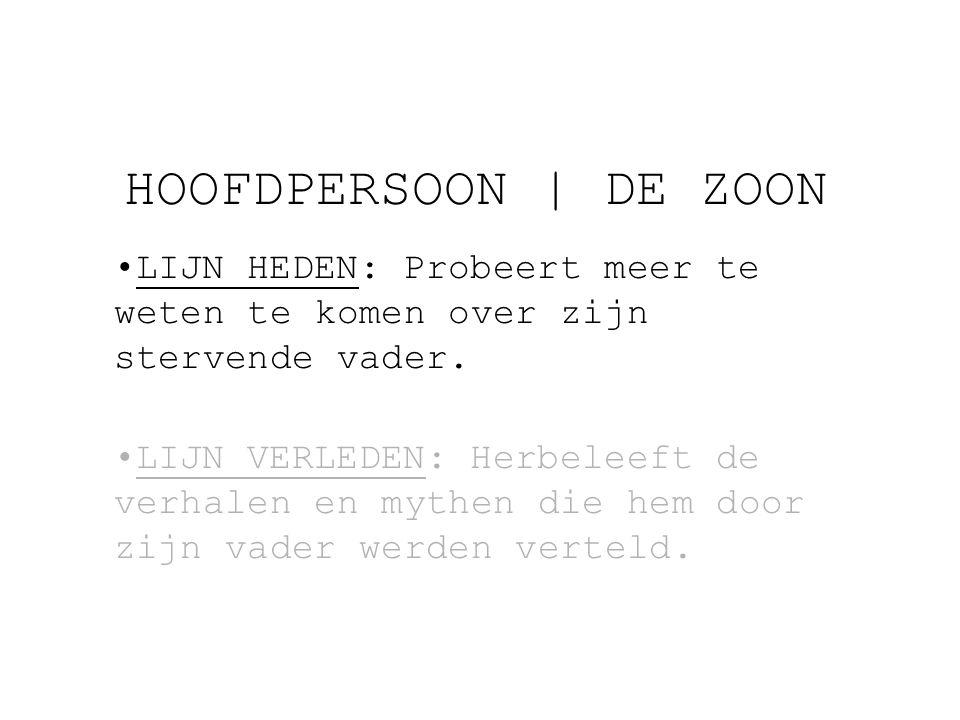 HOOFDPERSOON   DE ZOON LIJN HEDEN: Probeert meer te weten te komen over zijn stervende vader.