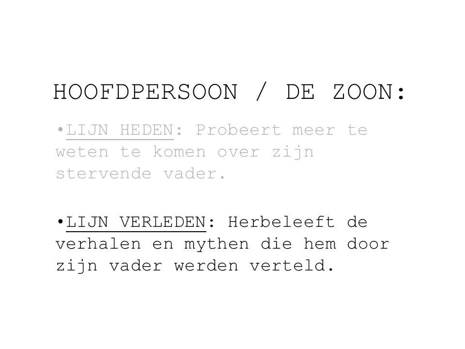 HOOFDPERSOON / DE ZOON: LIJN HEDEN: Probeert meer te weten te komen over zijn stervende vader.