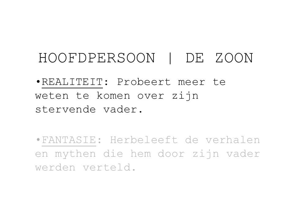 HOOFDPERSOON   DE ZOON REALITEIT: Probeert meer te weten te komen over zijn stervende vader.