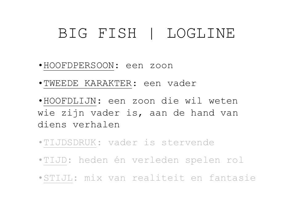 BIG FISH   LOGLINE HOOFDPERSOON: een zoon TWEEDE KARAKTER: een vader HOOFDLIJN: een zoon die wil weten wie zijn vader is, aan de hand van diens verhalen TIJDSDRUK: vader is stervende TIJD: heden én verleden spelen rol STIJL: mix van realiteit en fantasie